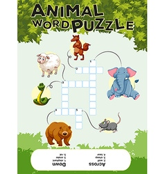 Crossword puzzle with many animals vector