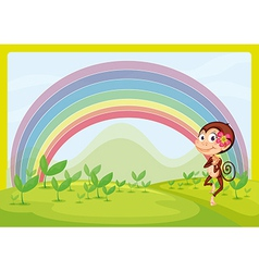 A smiling monkey and a rainbow vector image vector image