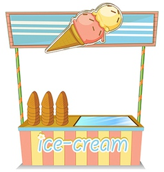 A wooden icecream stand vector