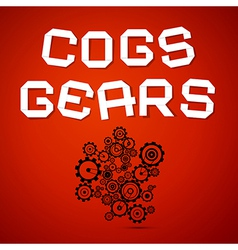 Abstract Cogs - Gears on Red Background vector image vector image