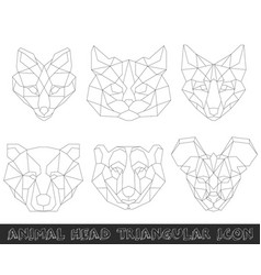 animal head triangular icon-geometric line design vector image
