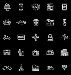 Birthday gift line icons on black background vector
