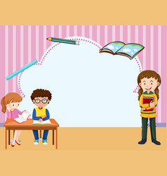 border template with kids learning in classroom vector image vector image