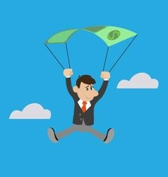 businessman uses the dollar as a parachute vector image vector image