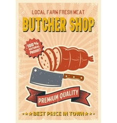 Butcher Shop Retro Style Poster vector image vector image