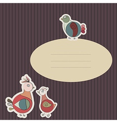 card with turkey bird and pigeon vector image