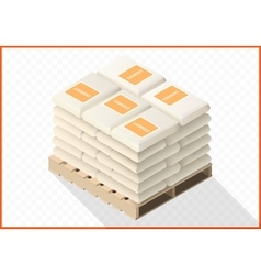 Cement sacks stacked isometric view vector image