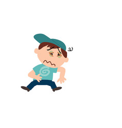 Character of a sick white boy with blue cap vector