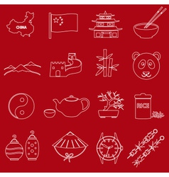China theme red and white outline icons set eps10 vector