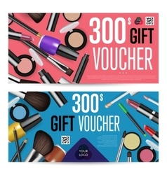 Cosmetics gift vouchers with prepaid sum template vector