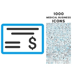Dollar cheque icon with 1000 medical business vector