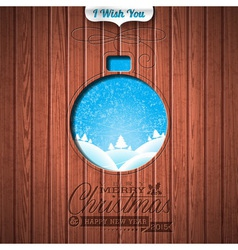 Engraved Merry Christmas and Happy New Year vector image vector image