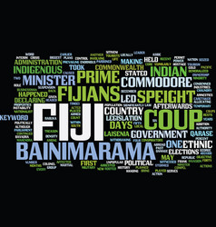 Fiji coup text background word cloud concept vector