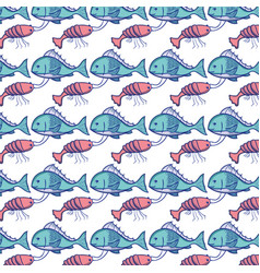 Fish and lobster animal background design vector