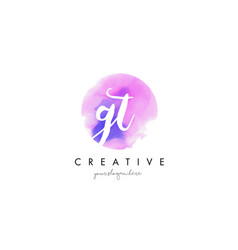 gt watercolor letter logo design with purple vector image vector image