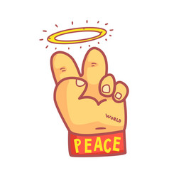 Hand hands showing victory sign wearing wristband vector