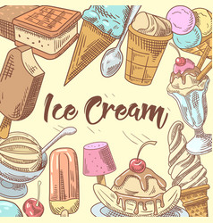 ice cream hand drawn doodle vector image vector image