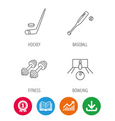 Ice hockey bowling and baseball icons vector