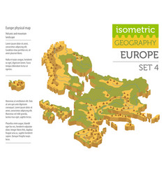 Isometric 3d europe physical map constructor vector