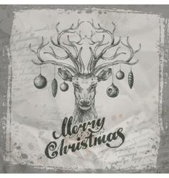 Merry Christmas Deer and Christmas toys vector image