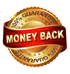 money back guarantee golden label with ribbon vector image vector image