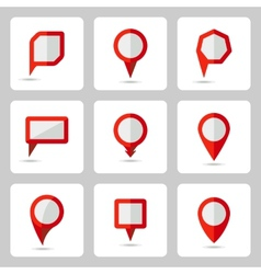 pointer red icons set various forms vector image vector image