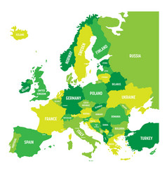 political map of europe continent in four shades vector image