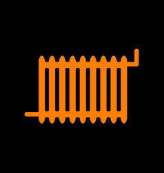 radiator sign orange icon on black background vector image vector image
