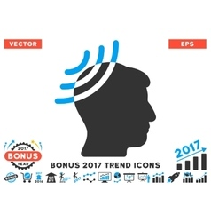 Radio reception head flat icon with 2017 bonus vector