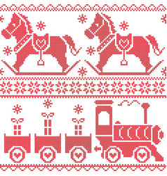 Scandinavian seamless nordic pattern with horse vector