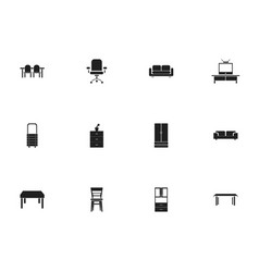 Set of 12 editable furniture icons includes vector