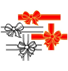 Set of satin ribbon bows vector image