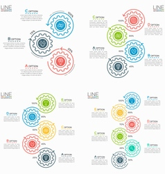 set of thin line business infographic templates vector image