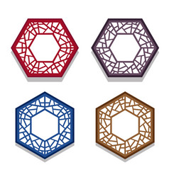 Set of traditional chinese hexagon window frame vector