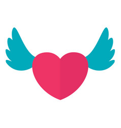 wedding heart with wings icon vector image