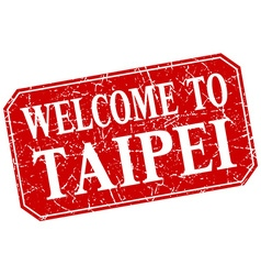 Welcome to taipei red square grunge stamp vector