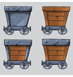 Wooden mine cart set vector