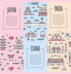world traveling tour posters in linear style vector image