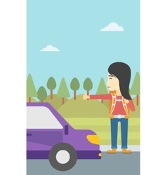 Young woman hitchhiking vector