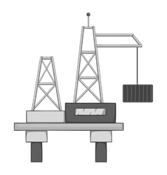 Oil offshore platform icon gray monochrome style vector