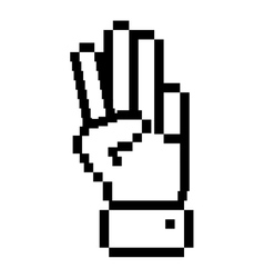 Outline pixelated hand with three fingers symbol vector