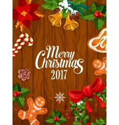 Merry christmas 2017 poster greeting card vector