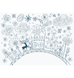 Winter card with house vector