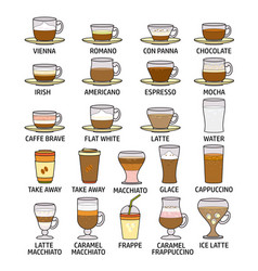 colorful coffee icon set vector image
