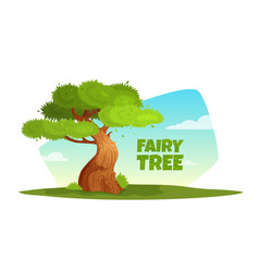 cartoon of a tree in the vector image