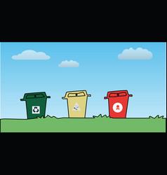 Three color plastic bins against blue sky vector