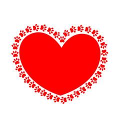 Heart paws vector