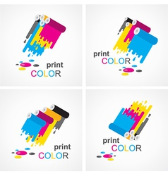 Cmyk print colored roll element set vector