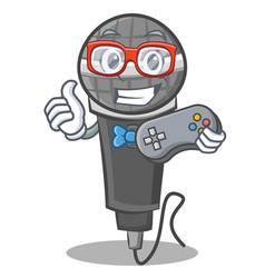 Gamer microphone cartoon character design vector