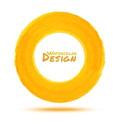 Hand drawn watercolor yellow circle design element vector image